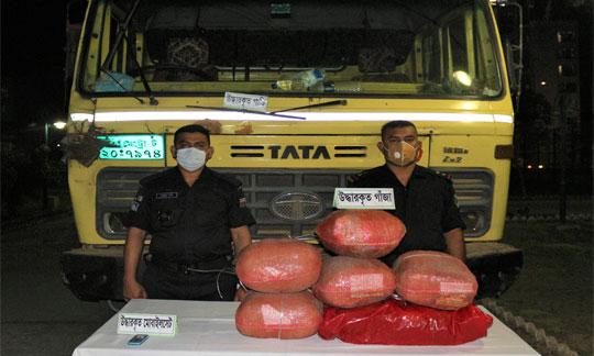 সিরাজগঞ্জের সলঙ্গায় র্যাবের অভিযানে ৩০ কেজি গাঁজাসহ ০১ টি ট্রাক আটক